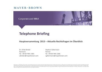 Telephone Briefing - Mayer Brown