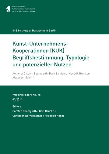 Kunst-Unternehmens- Kooperationen (KUK) - IMB Institute of ...