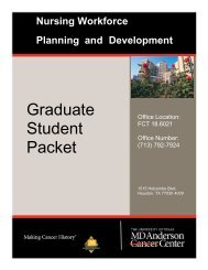 Graduate Student Packet - MD Anderson Cancer Center