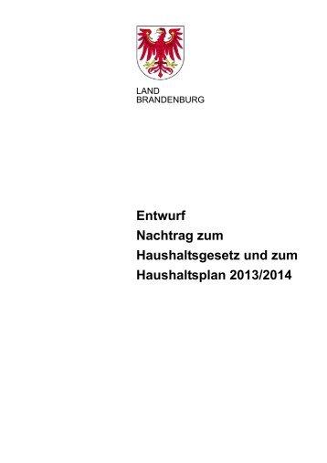 Entwurf Nachtragshaushalt 2013-2014.pdf - Ministerium der Finanzen