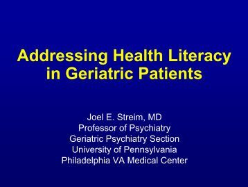 Addressing Health Literacy in Geriatrics Patients