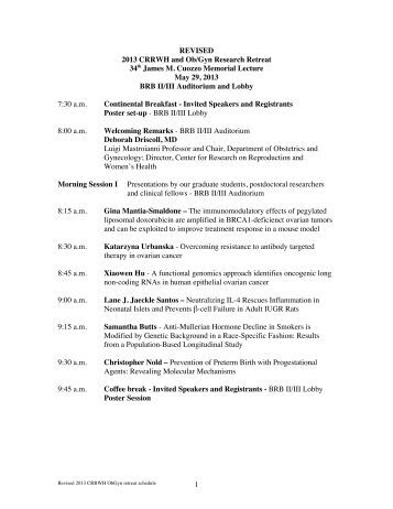 REVISED 2013 CRRWH ObGyn retreat schedule
