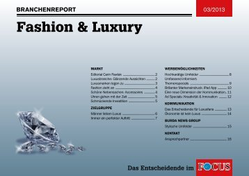 Branchenreport Fashion & Luxury - FOCUS MediaLine