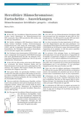 Hereditäre Hämochromatose: Fortschritte - Auswirkungen - Swiss ...