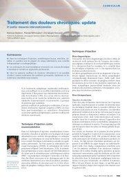 Traitement des douleurs chroniques: update - Swiss Medical Forum