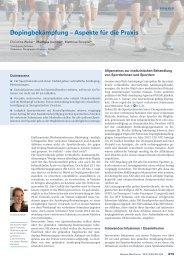 Dopingbekämpfung – Aspekte für die Praxis - Swiss Medical Forum