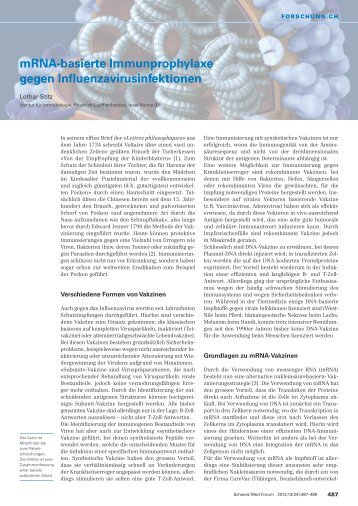 mRNA-basierte Immunprophylaxe gegen Influenzavirusinfektionen ...
