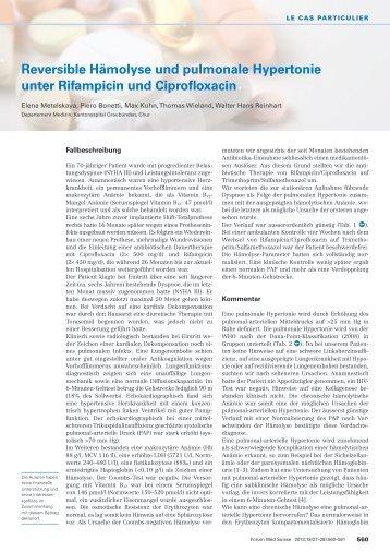 Reversible Hämolyse und pulmonale Hypertonie unter Rifampicin und ...