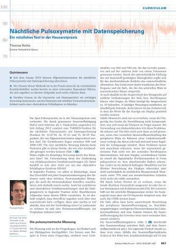 Nächtliche Pulsoxymetrie mit Datenspeicherung - Swiss Medical Forum