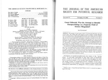 the american society for psychical research, inc. - University of Virginia