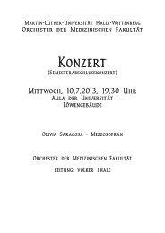 Konzert - Medizinische Fakultät der Martin-Luther-Universität Halle
