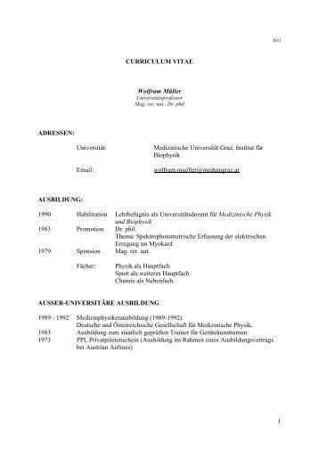 Curriculum Vitae W.Müller - Medizinische Universität Graz