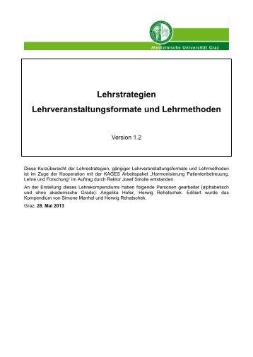 Kurzübersicht über Prüfungsmethoden - Medizinische Universität Graz