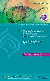 Ausstellerbroschüre zur 47. Medizinischen Woche 2013