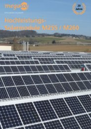 Hochleistungs- Solarmodule M255 / M260 - Megasol