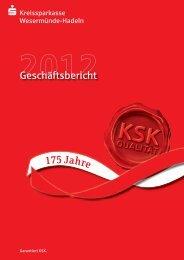 Geschäftsbericht 2012 - Kreissparkasse Wesermünde-Hadeln