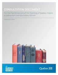 Consultation document - Ministère de l'Éducation, du Loisir et du Sport
