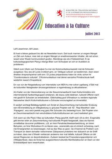 Education à la Culture - Ministère de l'éducation nationale et de la ...