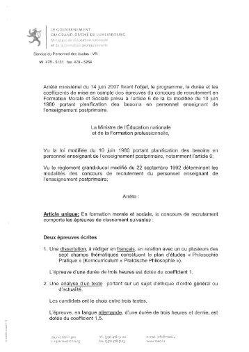 Aufgabenstellung - Ministère de l'éducation nationale et de la ...