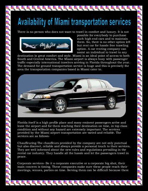 Availability of miami transportation services