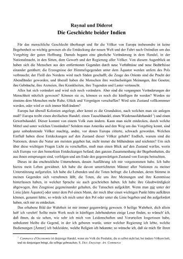 RAYNAL/DIDEROT: Die Geschichte beider Indien
