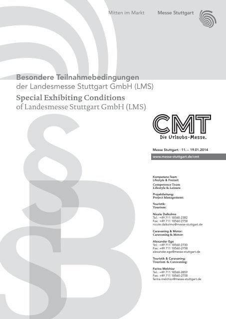 Special Exhibiting Conditions of Landesmesse Stuttgart GmbH