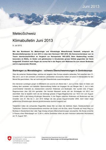Klimabulletin Juni 2013 Juni 2013 - MeteoSchweiz - admin.ch