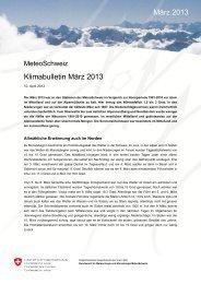 Klimabulletin März 2013 März 2013 - MeteoSchweiz - admin.ch