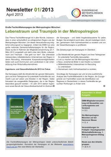 Newsletter 01/2013 - Europäische Metropolregion München