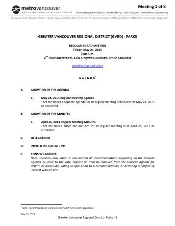 GVRD Parks Agenda - May 24, 2013 - Metro Vancouver
