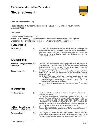 9.1 Steuerreglement, GV 26.06.03 - Metzerlen-Mariastein