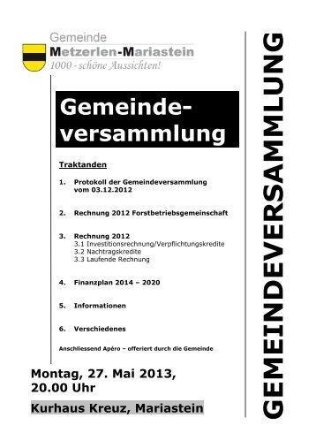 GV Einladung 27.05.2013 - Metzerlen-Mariastein