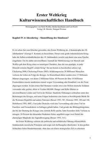Erster Weltkrieg Kulturwissenschaftliches Handbuch - J. B. Metzler ...