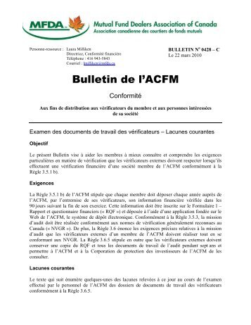 Conformité Bulletin No. 0428-C - Examen des documents de travail ...