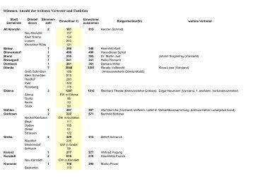 Stimmen, Anzahl der weiteren Vertreter und Funktion