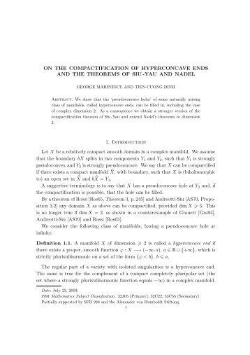 ON THE COMPACTIFICATION OF HYPERCONCAVE ENDS AND ...