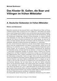 Das Kloster St. Gallen, die Baar und Villingen im frühen Mittelalter