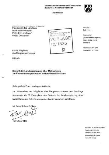 Bericht der Landesregierung über Maßnahmen zur ... - MIK NRW
