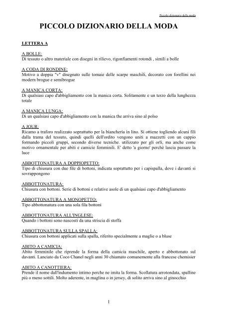 69505b6bc6 PICCOLO DIZIONARIO DELLA MODA - Distretto Formativo Moda