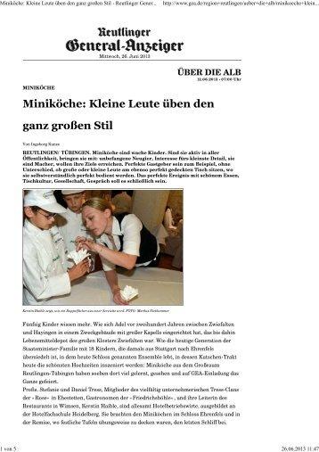 Miniköche: Kleine Leute üben den ganz großen Stil - Reutlinger ...
