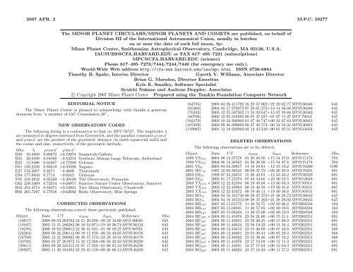 2007 APR. 2 M.P.C. 59277 The MINOR PLANET CIRCULARS ...