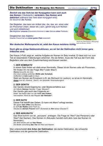 Deklination - Beugung des Nomens - Mittelschulvorbereitung Deutsch