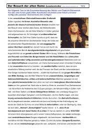 Der Besuch der alten Dame - Mittelschulvorbereitung Deutsch