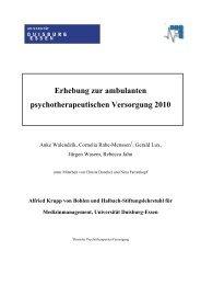 Erhebung zur ambulanten psychotherapeutischen Versorgung 2010