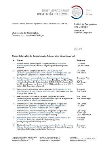 Katalog möglicher Abschlussarbeiten 2013/14 - Ernst-Moritz-Arndt ...