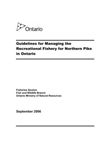 Guidelines for Managing the Recreational Fishery for Northern Pike in