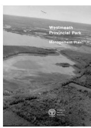 Westmeath Provincial Park Management Plan - Ministry of Natural ...