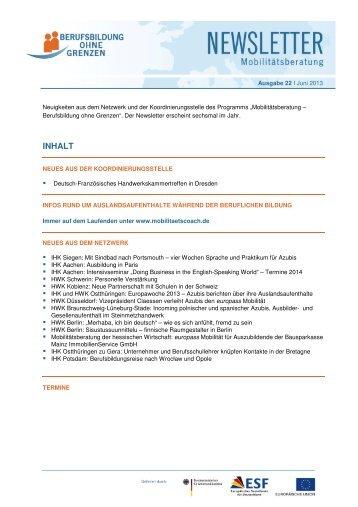 Ausgabe 22, 12. Juni 2013 (PDF 3 MB) - Berufsbildung ohne Grenzen