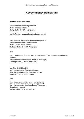 Kooperationsvereinbarung Soziales Netzwerk Mönsheim
