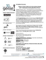 31st Annual Genie Awards - Nominations / 31e Prix Génie - Finalistes